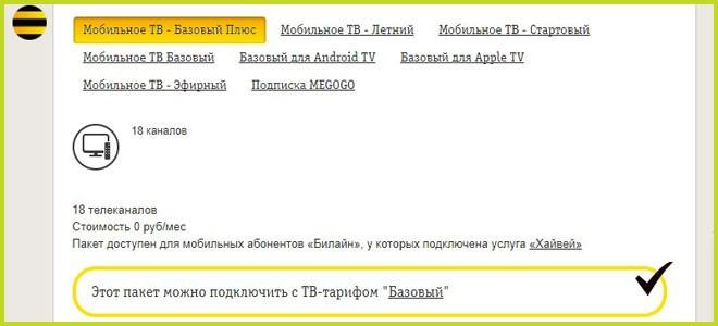 Список доступных ТВ пакетов