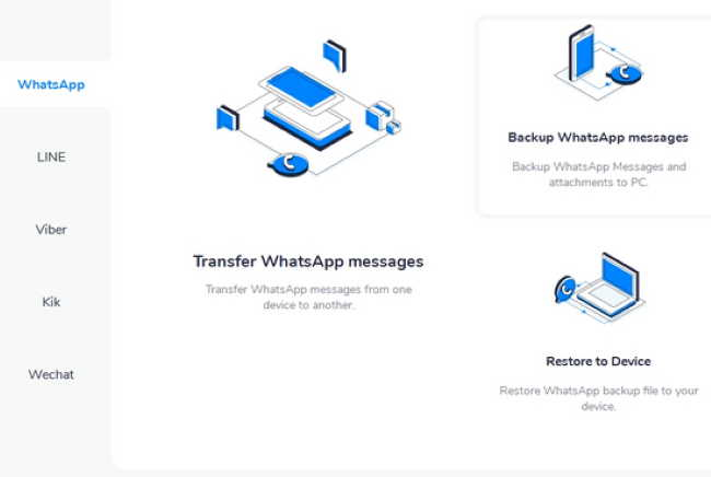 Передача данных в WhatsApp через MobileTrans - WhatsApp Transfer