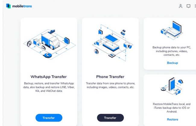 Передача чатов в WhatsApp через MobileTrans - WhatsApp Transfer